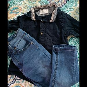 Jeans and long sleeve shirt set
